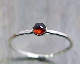3mm Tiny Rose Cut Garnet Stacking Ring in Sterling Silver - Super Thin Micro Band, Smooth or Hammered - January Birthstone Stacking Ring