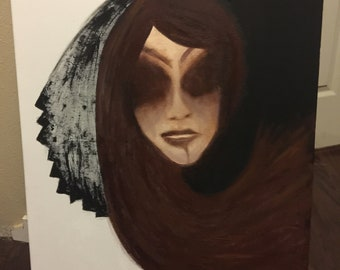 24x30 inch acrylic painting abstract/ woman/ face/ wicked