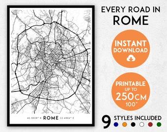 Rome map print, Rome print, Rome city map, Rome poster, Italy map, Rome wall art, Map of Rome, Rome art print, Rome map poster, Rome gift