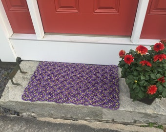 Maine rope rug, Upcycled lobster rope, Maine made, Nautical outdoor mat, Vibrant purple doormat, Upcycled mat by WharfWarp