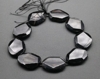 9cs Polished Black Agate Slab Slice Beads, Sediment Statement Stone Pendant Beads, Flat Slab Nugget Freeform Top Drilled Loose Beads