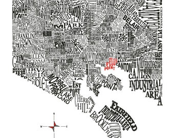 Customizable - Baltimore Neighborhood Map 11x14in Print