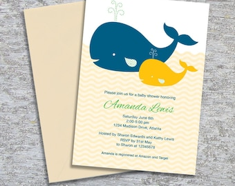 Whale Baby Shower Invitation – DIY Printable Personalized – Gender Neutral (Digital File)