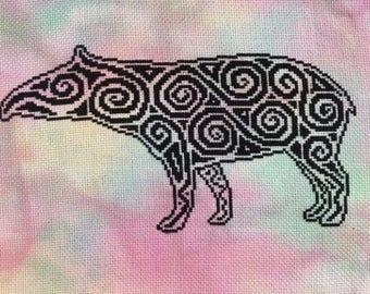 Tribal Tapir Cross Stitch Chart