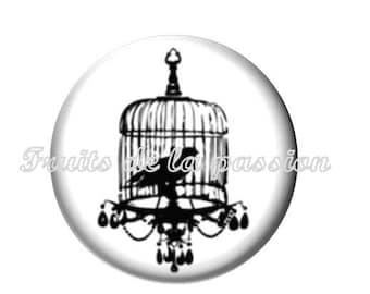 Set of 2 cabochon 20mm round glass, animal, bird cage