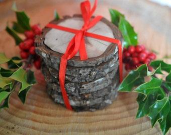 "Set of 8 Rustic Wood coasters 3""-4""-  Wedding Coasters - Rustic Decorations - Wood Slices - Rustic Wedding Decorations - Northwest Pine"