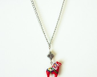 Mini Swedish Dala Horse Charm Necklace