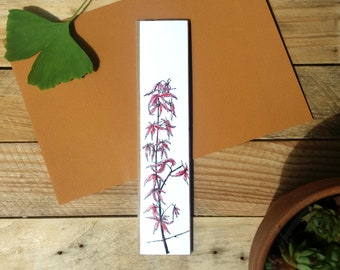 Bookmark original flower card maple tree, original drawing illustration, drawing handmade, botanical watercolor bookmark card