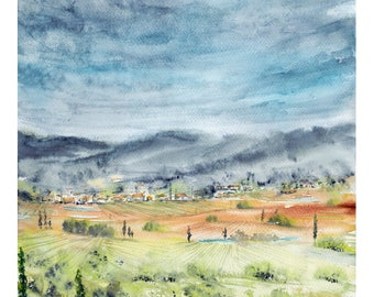 ORIGINAL watercolor painting. My Fields 3. From the series of my watercolor lanscapes.