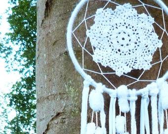 Extra Large White Crochet PomPom Boho Dreamcatcher