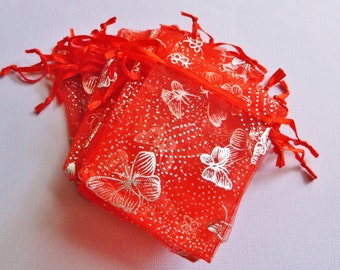 100 ( 2.5 x 3 in ) Organza Bags .. Red w/ Silver Butterly Organza Bags