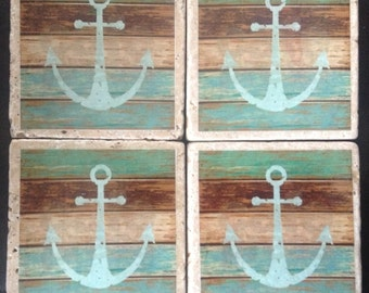 Nautical Anchor Rustic Set of 4 Drink Coasters, Housewarming, Wedding, Gift Idea