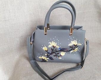 Grey women bag,embroidered handbag,crossbody bag, floral ladies handbag, shoulder bag