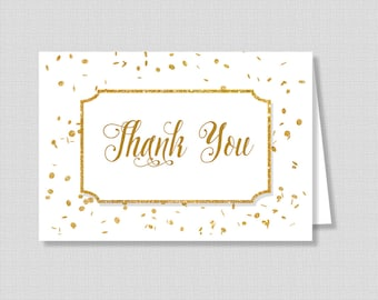 Gold Thank You Card, White and Gold Glitter Confetti Baby Shower Thank You, INSTANT PRINTABLE