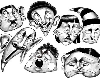 Caricatures of emotions  (digital prints)