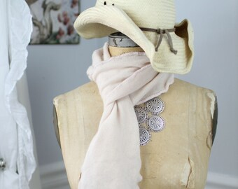 Lush, hand-crocheted scarves made from repurposed cashmere sweaters (in cream)