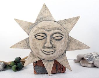 CERAMIC ART TILE - ceramic sun, wall hanging, wall decor, sun ornament, ceramic tile, wall art, decorative tile, sun face, sculpted tile