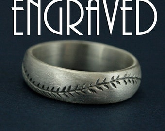 America's Pastime Oxidized Finish-Engraved-6mm Wide-Sterling Silver-Baseball Ring-Hand Cut Baseball Pattern-Handmade Ring-Men's Wedding Ring