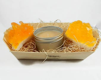 Citrine Yellow Topaz Quartz Crystal Soap & Candle Gift Set