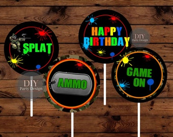 Paintball Cupcake Toppers * Instant Download * You Print