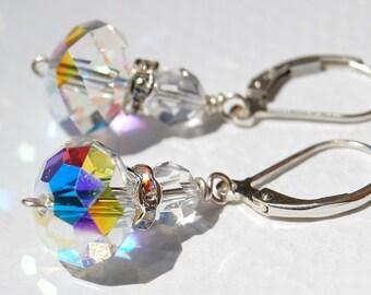 Daisy Earrings, Vintage Inspired Swarovski Crystal Design, Beautiful for Weddings, on Sterling Silver