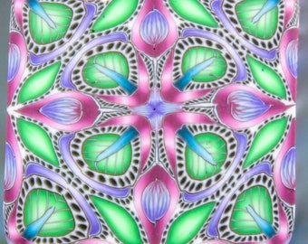Small Square Polymer Clay Kaleidoscope Cane (47A)