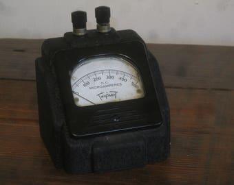 Amperes , Steampunk Gauge , D.C. Microamperes  Gauge
