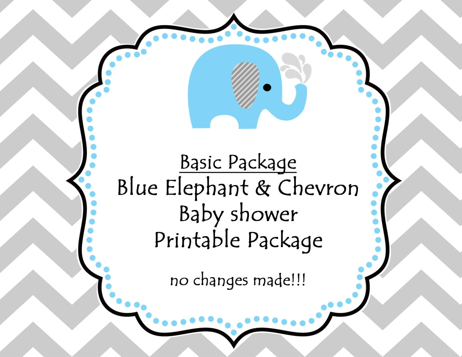 INSTANT DOWNLOADPrintable Blue Elephant Baby Shower Party