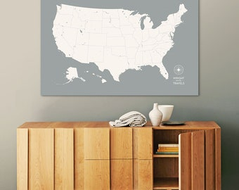 Push Pin Travel Map, US Map, Pin Map, Push Pin Map, USA Map, Map of USA, Map of Us, Canvas Map, Custom Travel Map, Our Travels, Travel Map