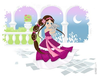 "Coupon polycotton T15x20 - ""Princess in Garden"" - Brown"