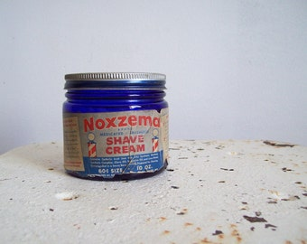 Vintage cobalt blue jar and lid Noxema for Shaving original lid and paper label
