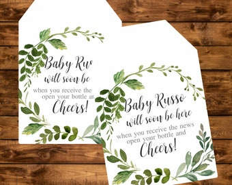 Baby shower tag, greenery watercolor personalized tag, leaf wreath printable baby shower gift tags, mini champagne bottle favor tags