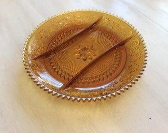 Tiara Amber Divided Relish Dish~Serving Platter~Glassware