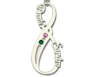 Infinity Vertical Name Necklace with Birthstone