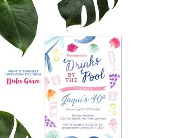 Adult Pool Party Birthday Invitation Beach Milestone Invite