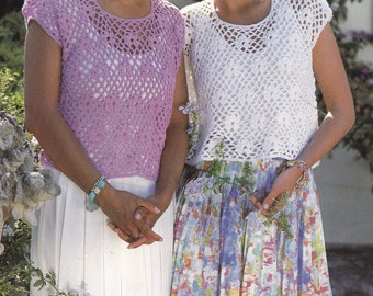 Vintage crochet pattern crocheted top cover up summer top size pdf INSTANT download pattern only