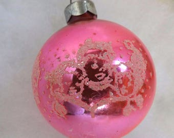 Vintage Christmas ornament, hot pink glass ornament, children carolers ornament, mercury glass ornament, mica stencil ornament