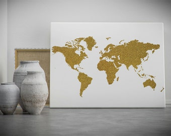 Gold world map etsy gold world map printable wall art gold glitter world map poster golden world gumiabroncs Gallery