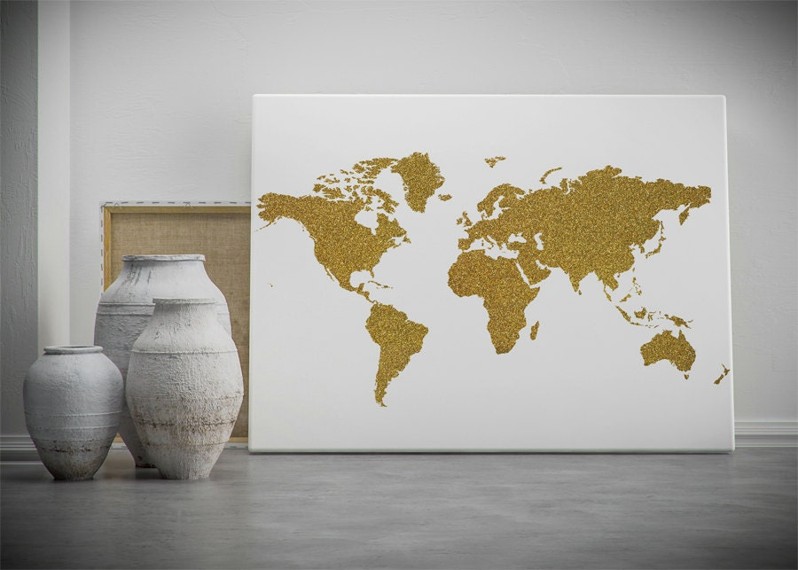 Gold world map printable wall art gold glitter world map zoom gumiabroncs Choice Image