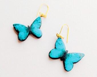 Handmade blue butterfly earrings