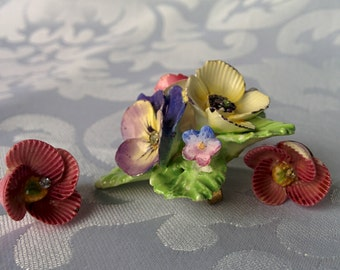 Porcelain Flower Brooch and Earrings Made in England, Porcelain Floral Jewelry Made in England