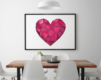 Origami Love Heart Line Print, Geometric love Heart Line Print. Digital Art Print Gift