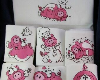Playful Pigs Flour Sack Towel Set