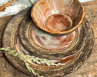 Dinnerware set brown | Etsy
