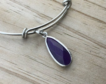 Dark Purple Bracelet- Adjustable Bangle Bracelet with Dark Purple Charm