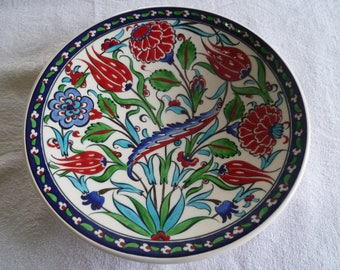 Turkish ceramic plate, 10 inch plate, traditional Iznik design, blue and red floral,  dinner plate, birthday gift, wedding present, wall art