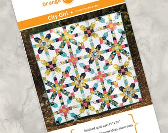 """Printed quilt pattern - """"City Girl"""" - a modern take on the Farmer's Daughter traditional pattern"""