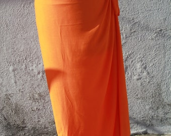 Orange color-Pareo-solid color-full or half  sized-rayon- sarong, pareau-fringeless