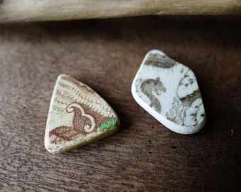 Duo of Brown and White Sea Pottery Fragments / Vintage Scottish Pottery / Scottish Beach / Genuine Sea Pottery / Flora & Dragon