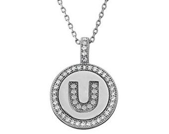Initial Letter U Micro Pave CZ Pendant .925 Sterling Silver